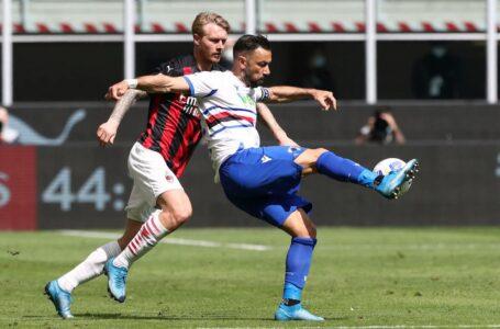 """Il Milan sbatte sulla Sampdoria: è 1-1 al """"Meazza"""""""