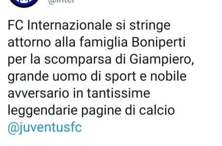 Inter, vicinanza al popolo bianconero dopo la morte di Boniperti: ecco il tweet