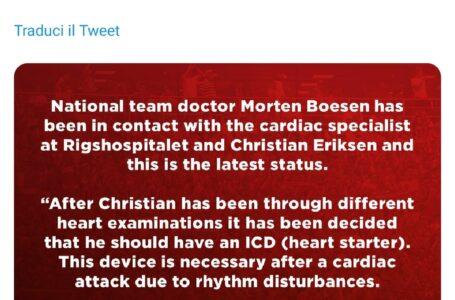 Dramma Eriksen, Christian ha deciso per un ICD: i medici confermano dopo un attacco cardiaco